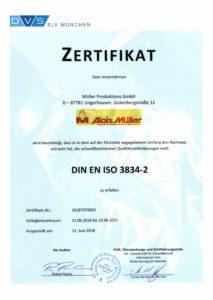 DVS SLV München Zertifikat Schweißen