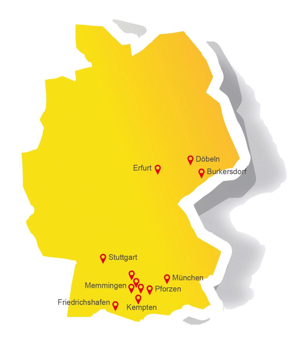 Landkarte Standorte Alois-Müller-Gruppe