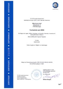 TÜV certificate in accordance with the German Water Management Act (WHG)