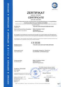 Zertifikat Druckgeräte